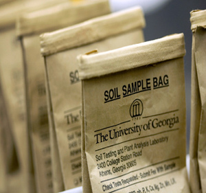 picture of soil testing bags, one of the services that UGA Extension provides