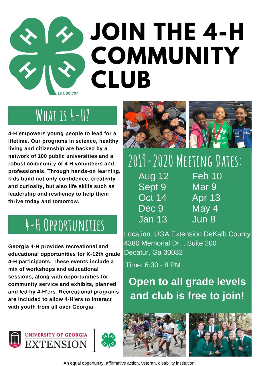 JOIN THE 4-H COMMUNITY CLUB FLYER