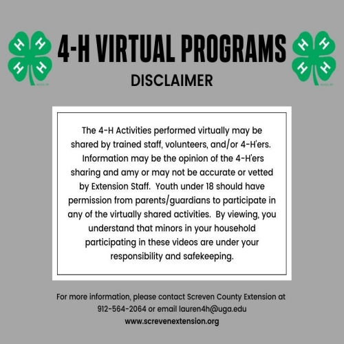 4-H Virtual Programs Disclaimer